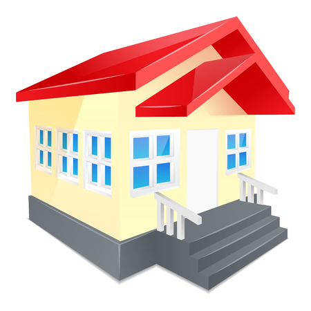 small town life: House with red roof. Isolated on a white background