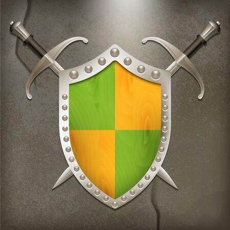 swordsmanship: A set of double-edged swords medieval shield. Vector illustration.
