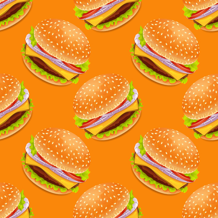 Seamless background with cartoon style hamburgers on a yellow bacground Vector