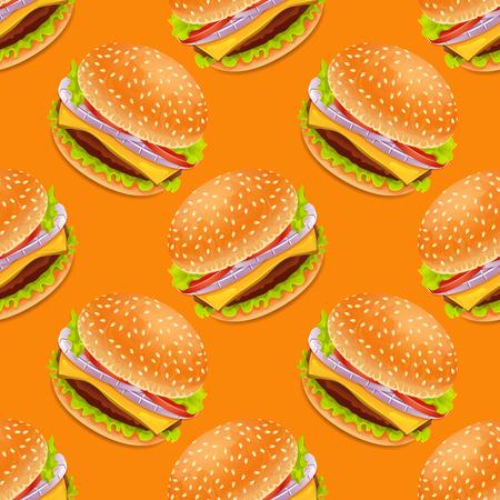 Seamless background with cartoon style hamburgers on a yellow bacground Illustration