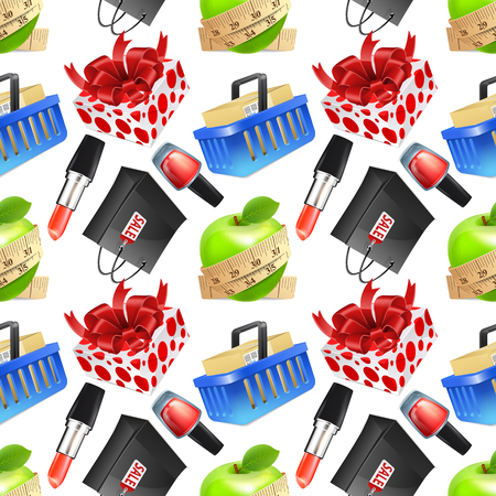 gift basket: Seamless vector background with colorful shopping woman icons