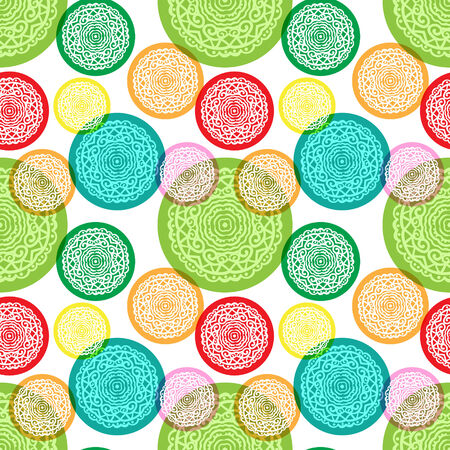 Seamless vector pattern with colorful hand drawn abstract elements
