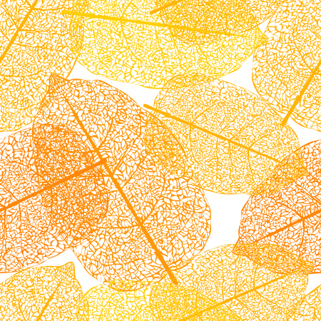 Leaf skeletons orange seamless vector background. Web pattern