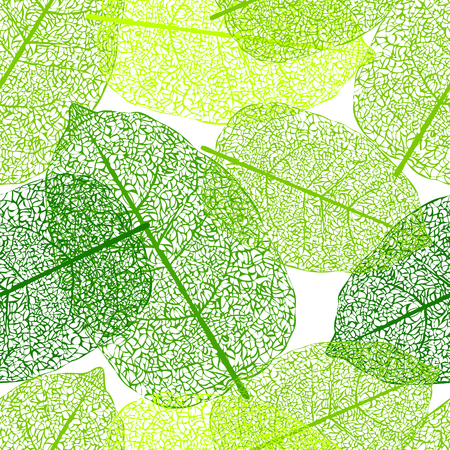Leaf skeletons green seamless vector background. Web pattern Illustration