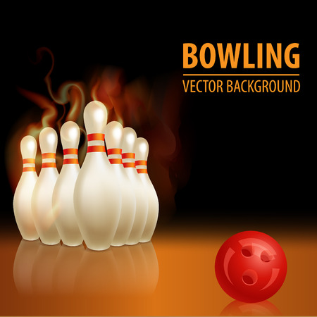 Bowling background with ball. Beautiful sport background Vector