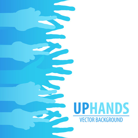 many hands: Blue hands up vector background with text place Illustration