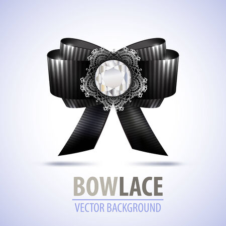black bow: Illustration of realistic black bow with diamond