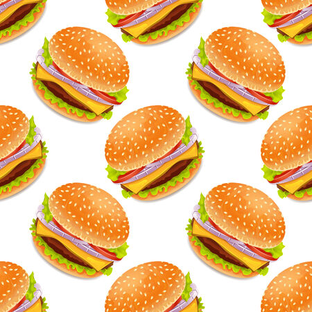 burger bun: Seamless background with cartoon style hamburgers on a yellow bacground Illustration
