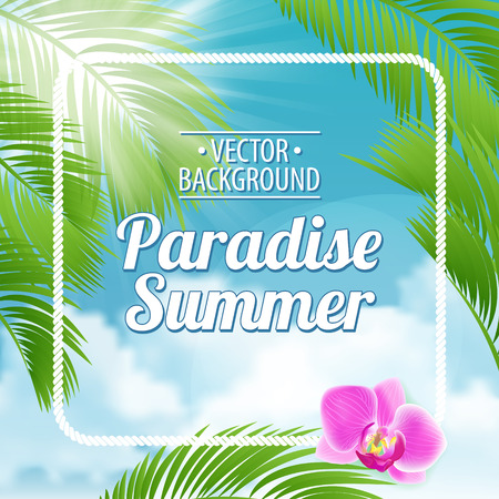 Vintage Beach Green Palma poster. Vector background.