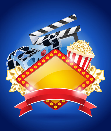 disposable: Popcorn box, disposable cup for beverages with straw, film strip, clapper board.
