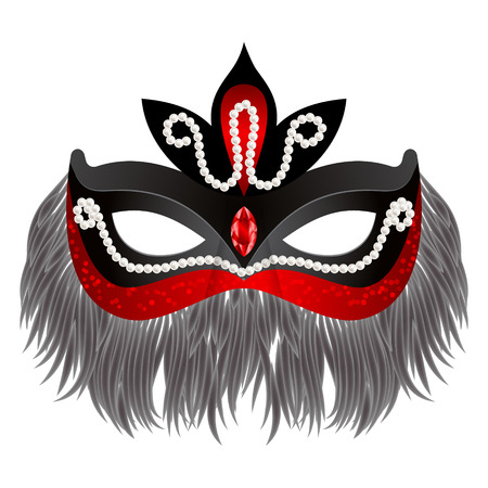 purim: Red beutiful carnival mask with feathers and pearls