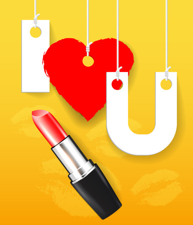 cosmetician: Vector red lipstick with paper letters Illustration