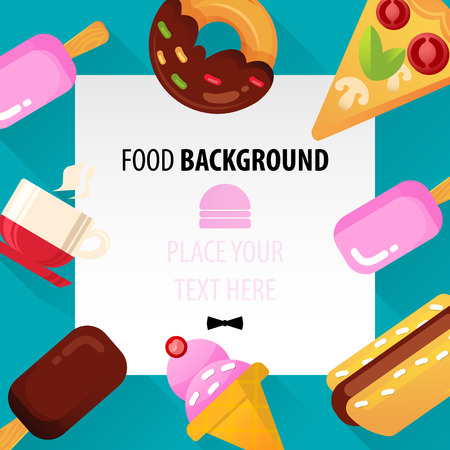 Flat Food Background for Web and Mobile  Vector