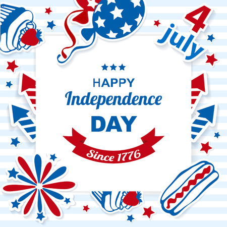 presidents day: 4th july stickers background Illustration