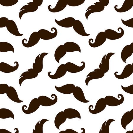 handlebars: Seamless vintage mustaches on white background Illustration