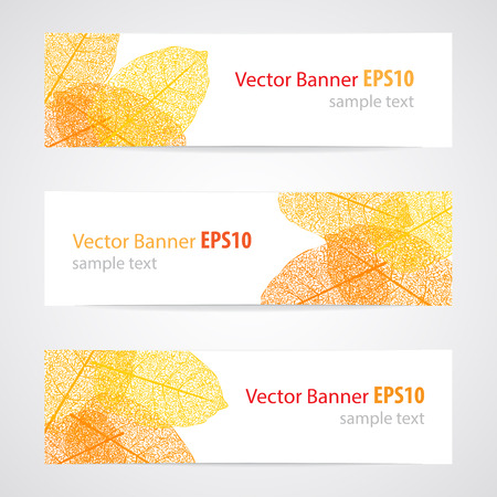 withered: Set of three vector banners  with autumn leaves. Illustration