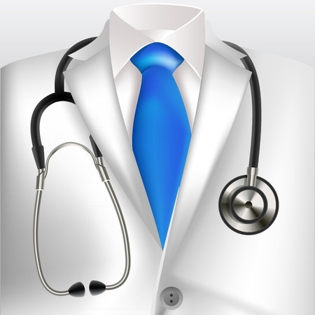 Doctors lab white coat and stethoscope