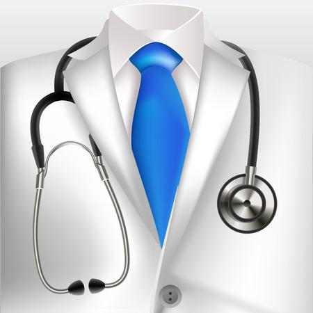 Doctors lab white coat and stethoscope Illustration
