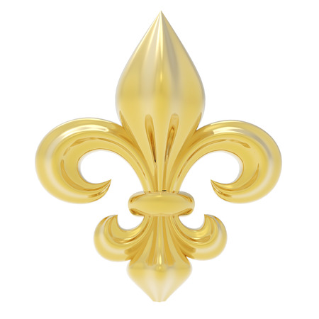 fleur of lis: Fleur de lis isolated on white Stock Photo