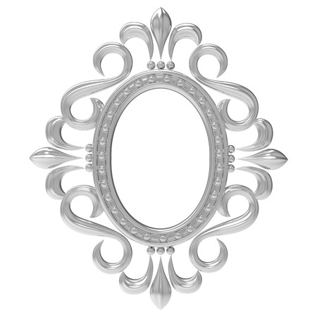 Silver vintage frame isolated on white background photo