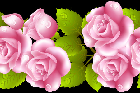 english rose: Vertical seamless background with roses. Illustration