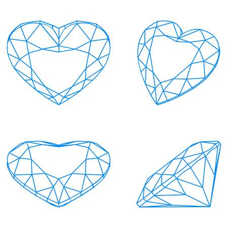 coeur en diamant: Vecteur diamant système graphique Illustration