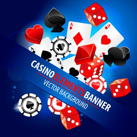 fichas de casino: Ilustraci�n del vector de los elementos del casino