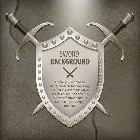 espadas medievales: Un conjunto de armas de doble filo escudo medieval Vectores