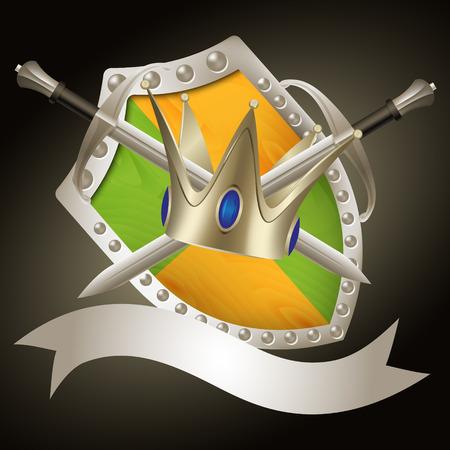 swordsmanship: A set of swords medieval shield and crow