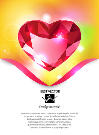 fake diamond: Heart-shaped red diamond vector background Illustration