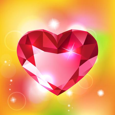 red diamond: Heart-shaped red diamond vector illustration