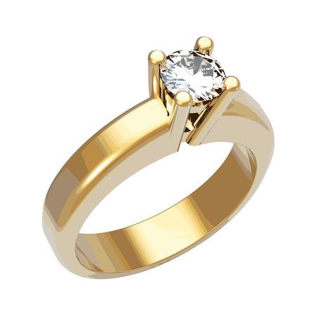 Brillante anillo de diamantes, ilustración vectorial