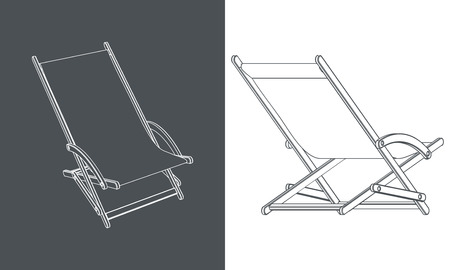 deck chair: Set of hand drawn beach chairs. Different projection