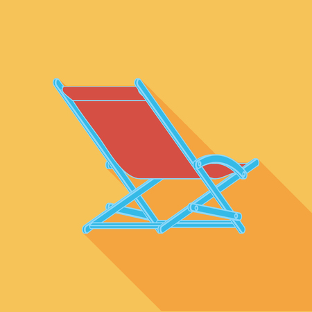 daybed: Lounger Beach Sunbed Chair flat icon with long shadow