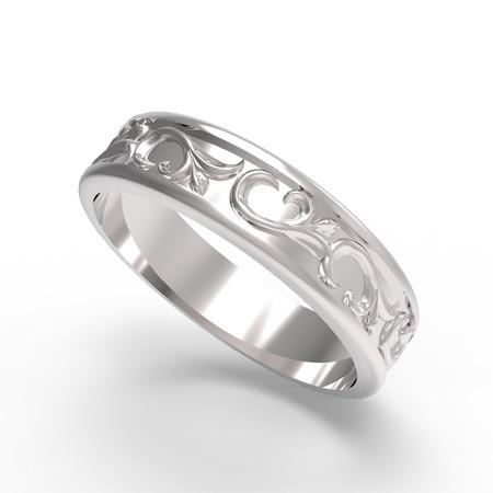 wedding accessories: Wedding ring on white background. 3D render Stock Photo