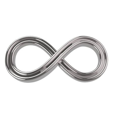 Zilveren Symbool van de oneindigheid. 3d render geïsoleerd op wit