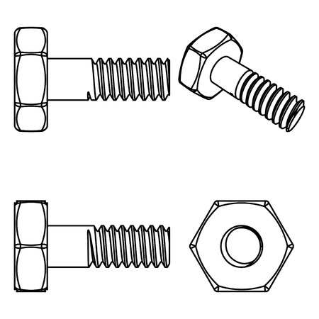 stainless: Stainless steel bolt and nut. Vector illustration. Different projections