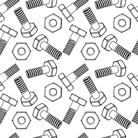 Seamless nuts and bolts. Vector illustration. Different projections