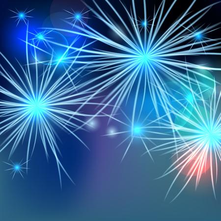 skyrocket: Vector fireworks background. Beautiful light spark background