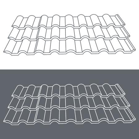 tile roof: Elemento Tegola di tetto. Eps10 illustrazione vettoriale.
