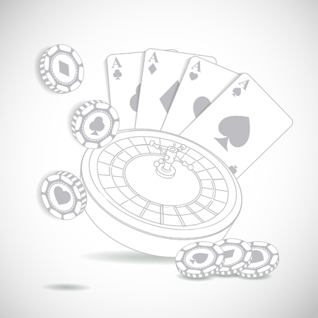 night suit: Casino composition with roulette wheel