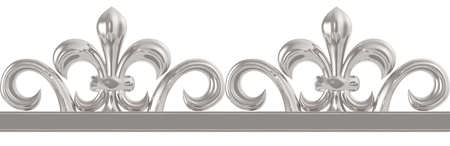Silver vintage seamless frame isolated on white photo