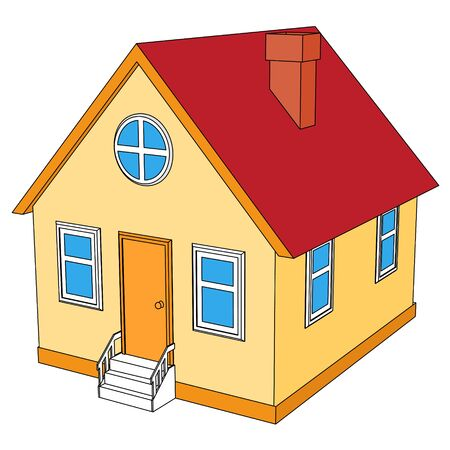 Small house with red roof Vector