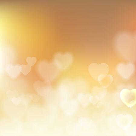 Luminoso efecto bokeh corazones fondo beige Vectores