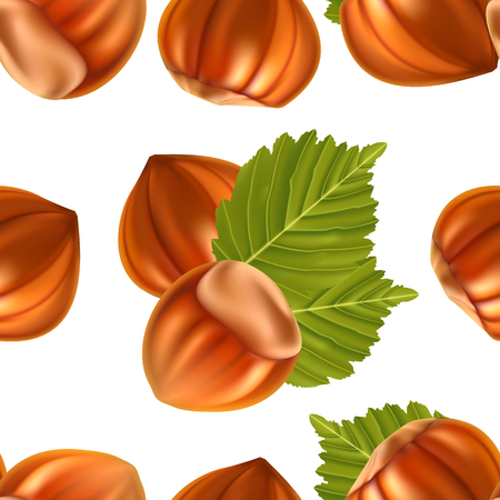 filberts: Filberts with leaves seamless background
