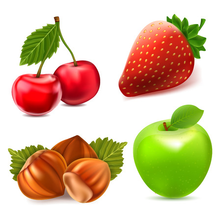 red apple: Fruit icon set Illustration