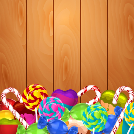 hard stuff: Bright background with candies on wood Illustration