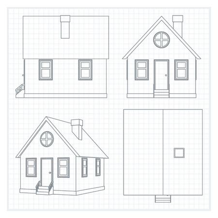 plan maison: Abstrait arri�re-plan architectural. Vector illustration du plan de maison.