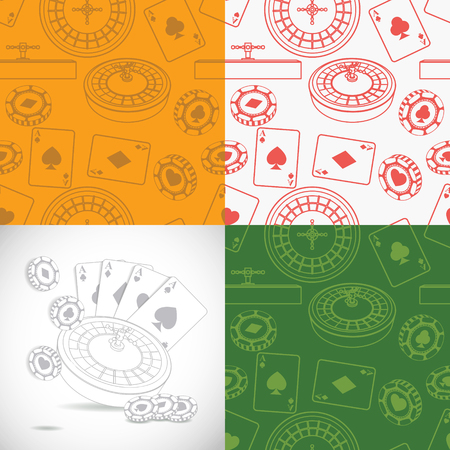 casino chip: Seamless casino patterns set