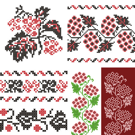 Vintage embroidery Ukrainian ornaments set